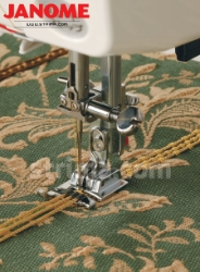 Foot for sewing on a decorative cords (for machines with shuttle hook)