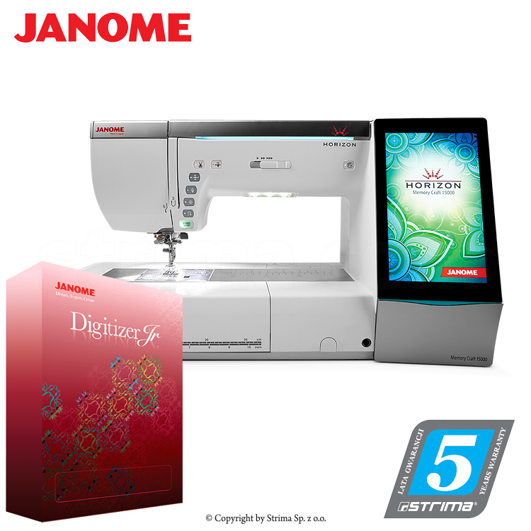 JANOME MEMORY CRAFT 15000 HORIZON JR SET - Computerized sewing and embroidering machine - promotional set with JANOME DIGITIZER JR software
