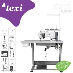 Two needle lockstitch machine with needle feed, AC Servo motor - complete sewing machine - TEXI TWIN MS PREMIUM