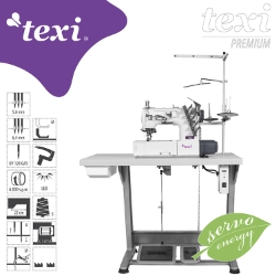 3-needle flat bed coverstitch (interlock) machine with built-in AC Servo motor and needles positioning - complete sewing machine - TEXI TRECCIA PREMIUM