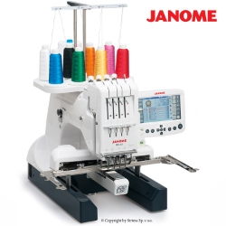 Compact, one-head, four-needle embroidery machine with a big hook