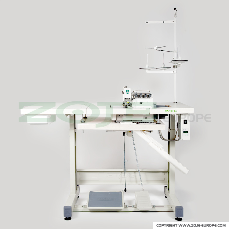 4-thread overlock machine for light and medium materials, with built-in AC Servo motor and needles positioning - machine head, table top and stand (submerged)