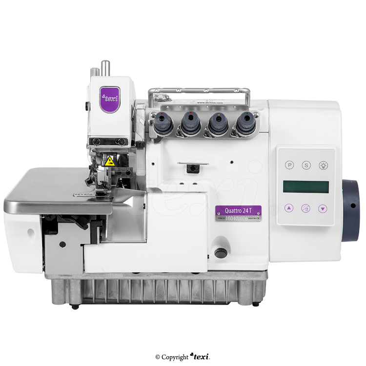 TEXI QUATTRO 24 T PREMIUM - 4-thread overlock machine with built-in AC Servo motor and needles positioning - complete sewing machine
