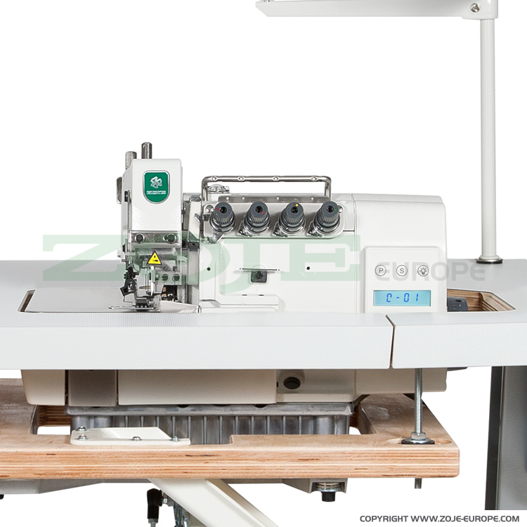 4-thread overlock machine (backlatching) for light and medium materials, with built-in AC Servo motor and needles positioning - machine head