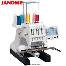 Compact, one-head, four-needle embroidery machine with a big hook - JANOME MB-7