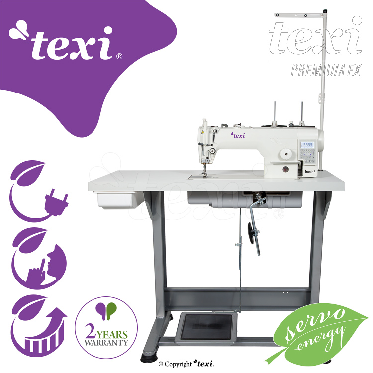 Lockstitch machine with built-in AC Servo motor and needle positioning - head only - TEXI TRONIC 6 PREMIUM EX